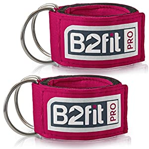 Ankle Straps for Cable Machines by B2FIT PRO Premium Padded Double D ring Ankle Cuffs for Gym Workouts Fitness Equipment for Leg Exercises, Cable Kickbacks, Glutes, Weight Lifting for Men & Women