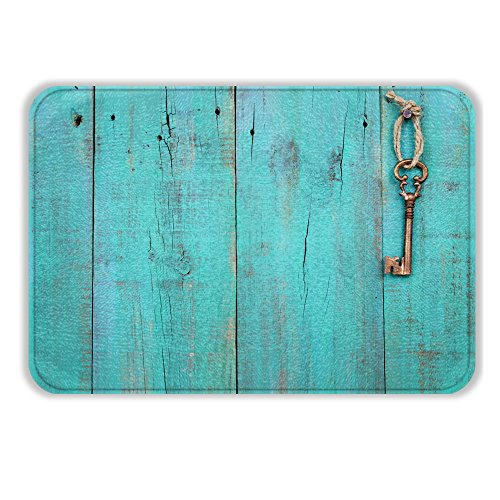 - ALL PRIDE Bath Mat Super Soft Blue Doors Keys Design Fresh Style Non Slip Latex Free Plush Microfiber with Quickly Drying Antibacterial Bathroom Shower Mats Rug 17