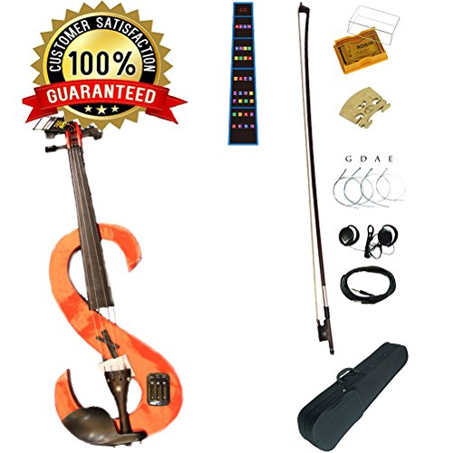 2017 Hand Made Premium Silent Violin 4/4 Full Size Intermediate Student Electric Violin Kit For Beginner,Kids Violin Leeche(Orange) by leeche