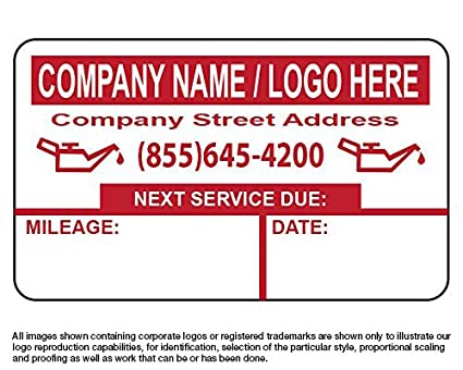Custom oil change stickers 1000 free sharpie with order