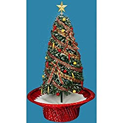 6' Pre-Lit Musical Snowing Rotating Artificial Christmas Tree with Red Base - Polar White LED Lights