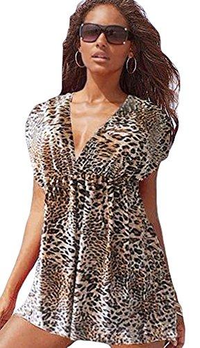 Spikerking Women's Swimwear Beach Dress Ice Silk Wrap bikini Cover Up Beachwear,Coffee leopard
