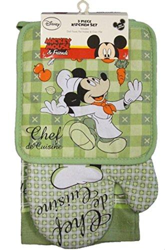 Disney Oven Mitt Pot Holder & Dish Towel 3 pc Kitchen Set (Mickey Mouse Green) ()