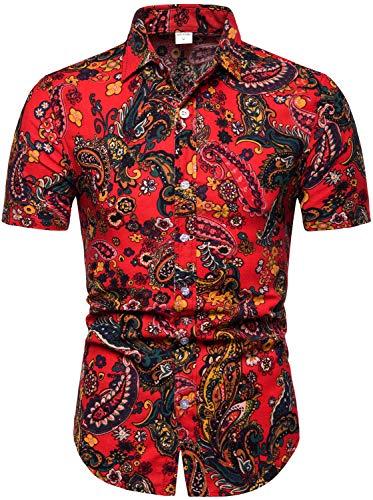 HENGAO Men's Paisley Floral Printed Short Sleeve Linen Button Down Shirt, TC13, S/36 = Tag L - Paisley L/s Shirt