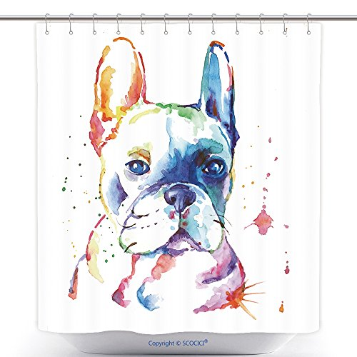 Cute Halloween Poems Short (Custom Shower Curtains French Bulldog Original Watercolor Illustration 359915666 Polyester Bathroom Shower Curtain Set With Hooks)