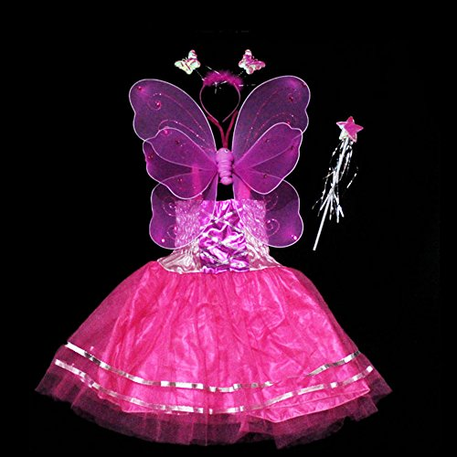 Halloween Girls Princess Fairy Costume Set with Dress, Wings, Wand and Headband for Children Ages 3-10