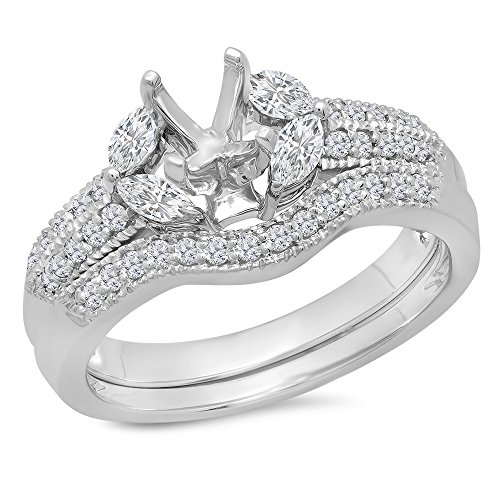 0.65 Carat (Ctw) 14k White Gold Round and Marquise White Diamond Engagement Semi Mount Bridal Ring Set (No Center Stone) (Size 7) Marquise Diamond Semi Mount Ring