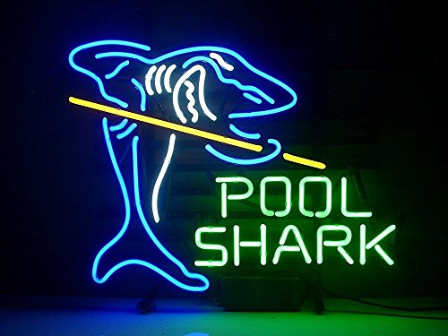 Urby™ Pool Shark Billiards Real Glass Neon Light Sign Home Beer Bar Pub Recreation Room Game Room Windows Garage Wall Sign 18''x14'' A12-04