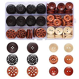 Assorted Round Wood Wooden Buttons Black Brown Beige 4 Hole Mixed Sewing Art DIY Craft Supplies Kits with Box 118pcs