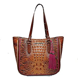 Brahmin Medium Lena Croco shoulder Toasted Almond Hayes