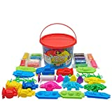 Pandapia 44Pcs Play Dough Tools Bucket Playsets with Clay doh and 3D Molds for Kids Party Pack Favors,Birthday Gift,Classroom Prize Supplies