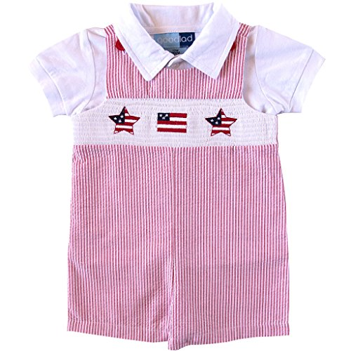 Good Lad Newborn/Infant Boys Red Smocked Seersucker July 4th Shortall Set