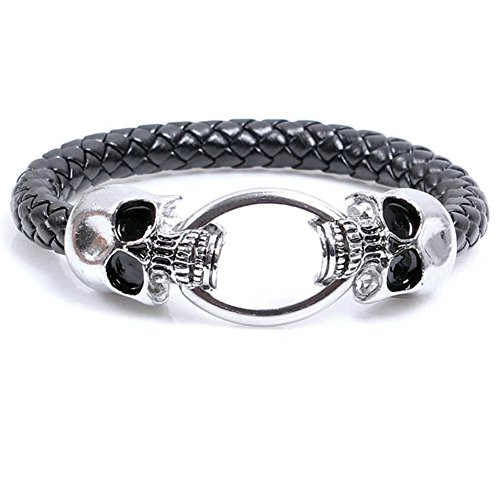 Mens Womens Vintage Leather Wrist Band Animal Bracelet Braided Rope Wrist Cuff Charm Bangle, Skull Punk Gothic Style, Fit 7 inch