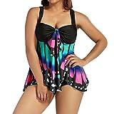 Women Butterfly Printing Swimwear Plus Size, Keepfit Tankini Bikini Set Swimwear Swimsuit Bathing Suit (XL, Purple)