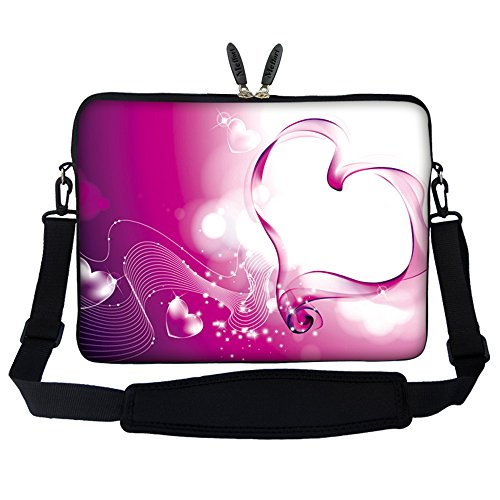 Meffort Inc 17 17.3 inch Neoprene Laptop Sleeve Bag Carrying Case with Hidden Handle and Adjustable Shoulder Strap - Pink ()