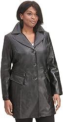 2fe589e85c81e Wilsons Leather Womens Plus Size Button Front Leather Jacket W Zipper  Detail Po Black