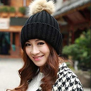 de9d190cbe0 HOKUGA  Brand 2016 Women Spring Winter Hats Beanies Knitted Cap Crochet Hat  Rabbit Fur Pompons
