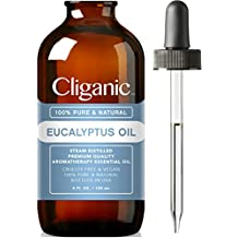 Cliganic™ 100% Pure Eucalyptus Essential Oil 4 oz (Large), Natural Aromatherapy Essential Oil for Diffuser/Humidifier, Steam Distilled | 100% Satisfaction Guarantee