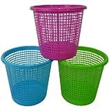 Plastic Waste Paper Basket Bin Kitchen Office Bathroom in Pink