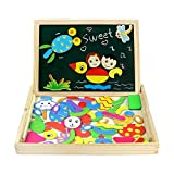 Magnetic Drawing Board Game Double Sided Blackboard Wooden Jigsaw Puzzles for Girls Boys Kids Toddler 3 4 5 Year Olds (Style A)