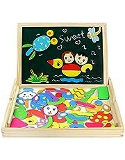 Fajiabao Puzzles de Madera Magnético Dibujo Placa Rompecabezas Pizarra con Caja para Niños de 3 Años