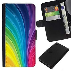 Stuss Case / Funda Carcasa PU de Cuero - Vertical remolina colores del arco iris colorido - HTC DESIRE 816