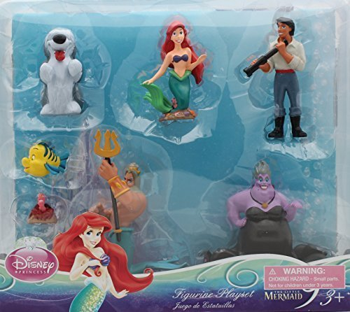 Disney Princess Exclusive Little Mermaid Figure Set - 7 pc Ariel Figurine - Bath Little Mermaid