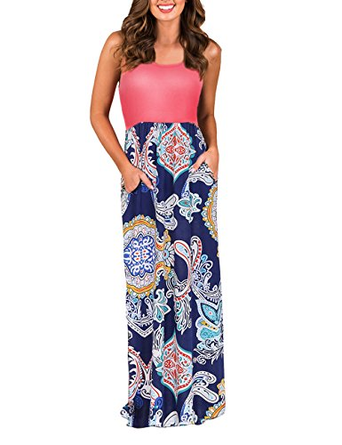 (DUNEA Women's Maxi Dress Floral Printed Autumn 3/4 Sleeve Casual Tunic Long Maxi Dress (Medium, Red013))