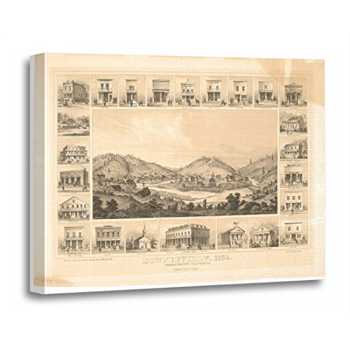 California Ca Panoramic Map - TORASS Canvas Wall Art Print Views Downieville Ca Panoramic Map 1856 California Artwork for Home Decor 20