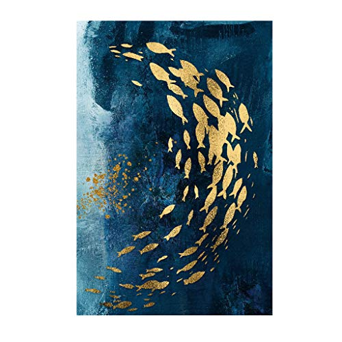 Pulison Decorative Painting Nordic Modern Golden Fish Watercolor Frameless Painting Core 30x45cm Wall Painting No Frame (B)