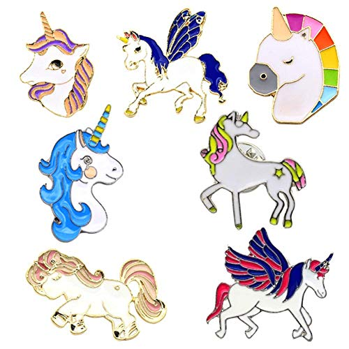 SAKOLLA Rainbow Unicorn Pin,Unicorn Badges Brooch Gift,Valentine's Day/Birthday Party Favors Decorations Supplies - Set of - Set Button Gift