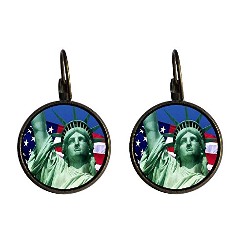 GiftJewelryShop Bronze Retro Style The U.S. Statue of Liberty Dangle Leverback Earrings 16mm diameter