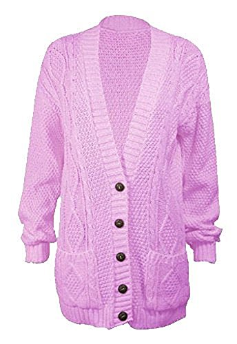 donna lungo Baby Cardigan a 58 cucito mano 40 da taglia bottoni pesante Pink con Swf7x8fEq