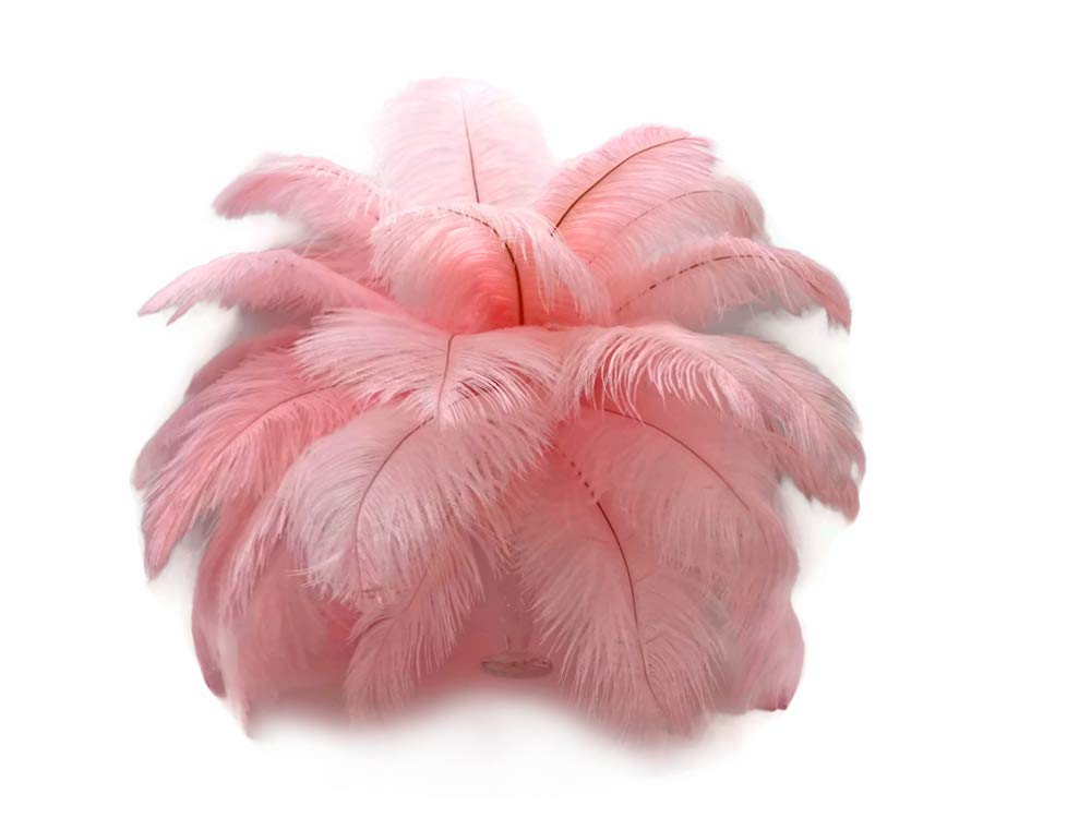 1/2 Lb - 8-10'' Baby Pink Wholesale Ostrich Drab Feathers (Bulk) Party Centerpiece Wedding Gatsby | Moonlight Feather