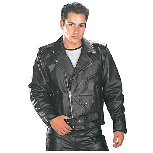 Xelement B7100 Classic Mens Black TOP GRADE Leather Motorcycle Biker Jacket - Large (Xelement Motorcycle Jacket)