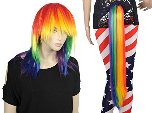 Colorful Tail Costumes (AshopZ Women Colorful Wig with a Matching Rainbow Tail for Halloween Party)