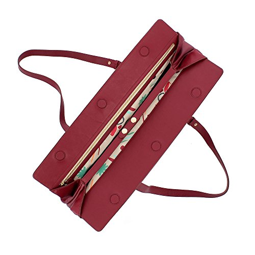 capacité pour Sac avec grande fermeture Élégant femme et DUDU ajustables souple Bordeaux en bandoulière magnétique poignées cuir à RxFpqnI