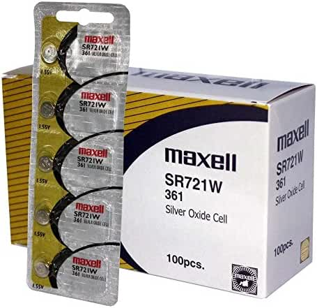 100 pcs Maxell SR721W SR58 SG11 361 Silver Oxide Watch Battery