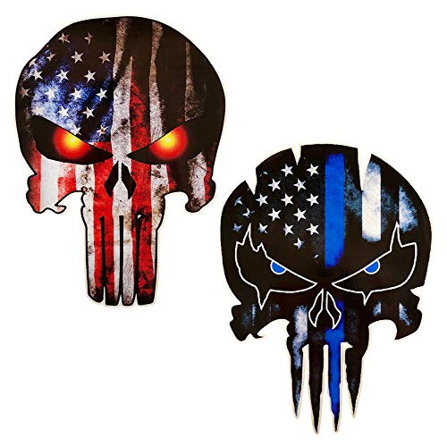 (JumpyFire Skull Shaped & Stars and Stripes Flag Decal Stickers, Sniper Marines Army Navy Military Jeep Graphic Cars & Trucks Vinyl Car Decals with 5.9 x 4.3inch (C-Series))
