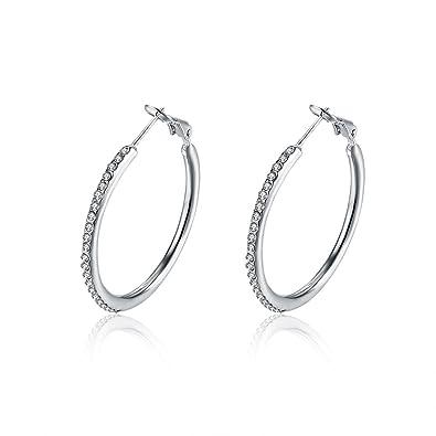 79d8aba88 35mm Rhinestone Diamond CZ Dainty Hoop Earrings For Women Girls Cubic  Zirconia Huggie 14K White Gold: Amazon.co.uk: Jewellery