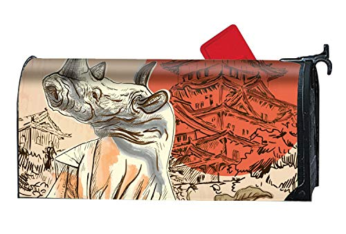 XPNiao Home Mailbox Wrap Japan Samurai Rhino an Hand Drawn Picture Four Seasons Magnetic Mailbox Cover