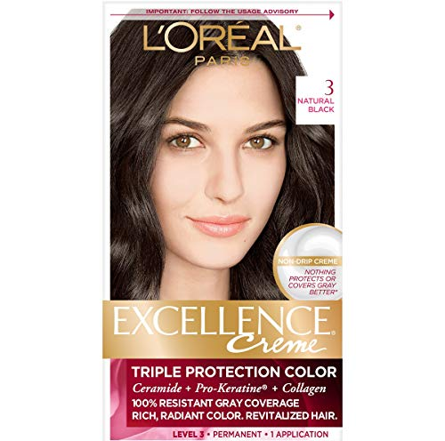 L'Oréal Paris Excellence Créme Permanent Hair Color, 3 Natural Black, 1 kit 100% Gray Coverage Hair Dye