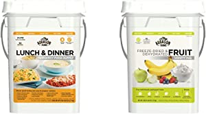 Augason Farms Lunch and Dinner Variety Pail Emergency Food Supply 4-Gallon Pail & Farms Fruit Variety Pail Long Term Food Storage Everyday Food Prep Camping Hiking 4 Gallon Pail