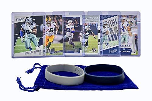 Dallas Cowboys Cards: Dak Prescott, Ezekiel Elliott, Jason Witten, Demarcus Lawrence, Randall Cobb, Amari Cooper ASSORTED Football Trading Card and Wristbands Bundle