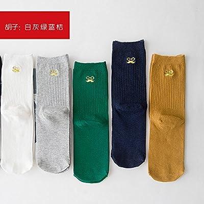Maivasyy 3 paires de chaussettes Printemps et automne Pile minces chaussettes en coton femme tas Tube Chaussettes brodées d'amour, Blanc Gris Bleu Orange Vert