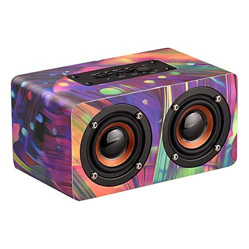 Docooler PCスピーカー 木製 BT4.2技術 ワイヤレス スサウンドバー 軽量 スピーカー 個性的 ポータブル 高音質 音楽再生 TFカード FMラジオ AUX プレーヤー 内蔵マイクロホン 多彩式 オシャレ スマホ タブレット