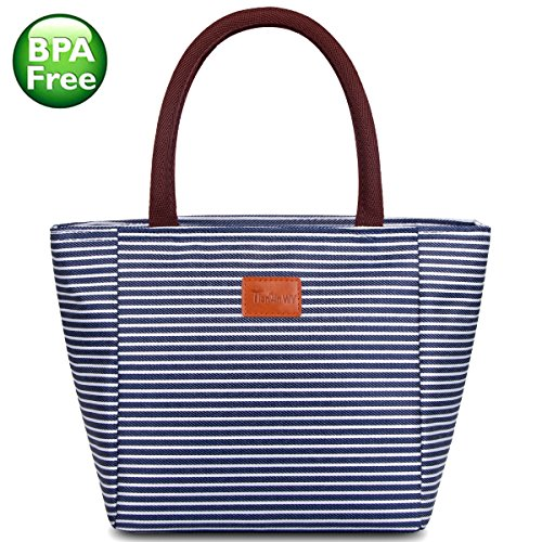 TianQin WY Reusable Lunch Tote Bag for Women Oxford Cloth Waterproof Insulated Lunch Bag Lunch Box Tote Bag Handbag Cooler Bag for Women Adults Kids, Blue and White Strips