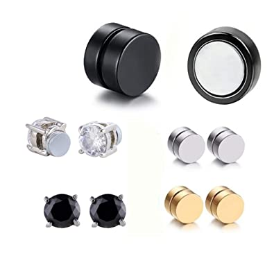96d6dd3c1 Image Unavailable. Image not available for. Color: Fashionsupermarket 10  pcs 6-8MM Stainless Steel Magnetic Fake Gauges Earring Studs for Non Pierced