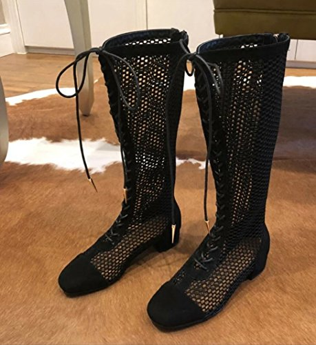 zzf Gauze boots Head Hollowed Rome And Square Out Netting Boots New Boots Black Boots WL CXxq6wd1X