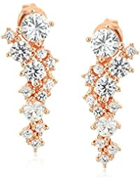 14k Rose Gold Plated Sterling Silver Created White Sapphire Drop Earrings